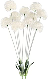 GTIDEA 28 inches Artificial Dandelion Flowers White Outdoor Fake Plants Plastic Shrubs Bushes Farmhouse Home Patio Galvanized Milk Jug Filler Decor Pack of 2
