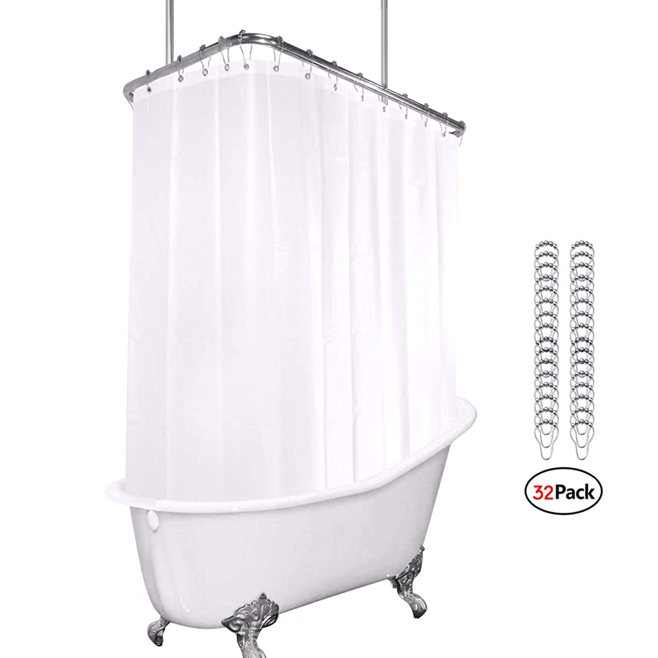 White All Around Shower Curtain Set 180 x 70 Inches PEVA Extra Wide Wrap Around Shower Panel Clawfoot Tub 32-Pack Shower Hooks Included Heavy Duty