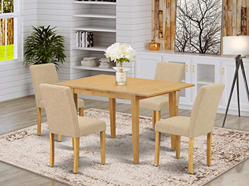 """5Pc Rectangle 42/53.5"""" Dinette Table With 12 In Leaf And Four Parson Chair With Oak Leg And Linen Fabric Light Fawn"""