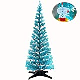 YuQi 5FT Pop Up Tinsel Branches Christmas Trees with Plump Snowman Sequin,Collapsible Artificial Xmas Blue Tree with Plastic Stand for Home,Office Classroom,Christmas Party Supplies Decor