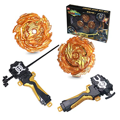 Toyuma Bey Battle Tops Metal Fusion Burst Turbo Gyro Evolution Set with 4D Launcher Grip and Stadium-Golden
