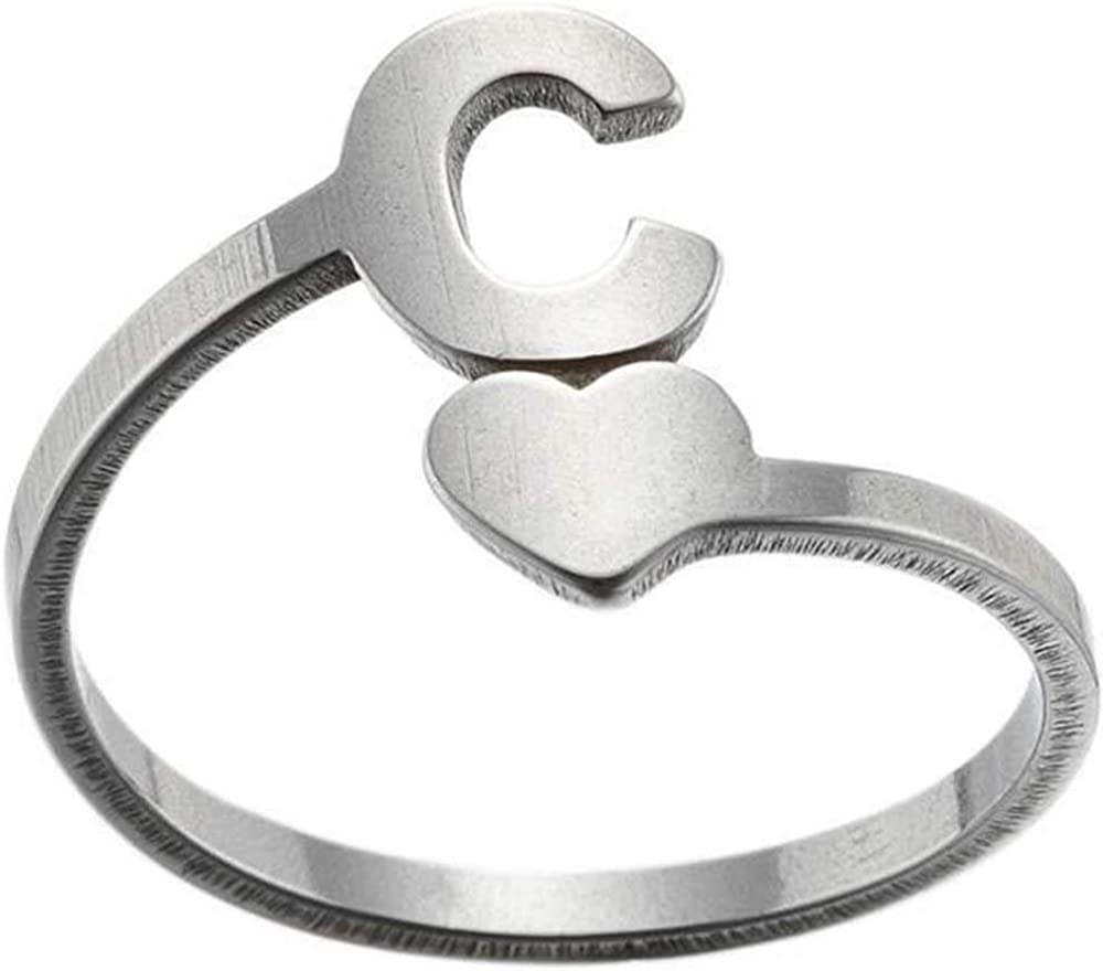 Stainless Steel Heart Shaped Ajudstable Size Initial Letter A-Z Alphabet Wedding Engagement Promise Statement Ring
