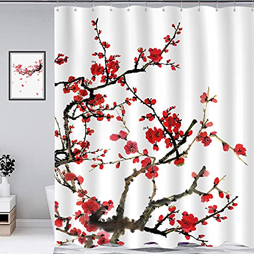 Homewelle Plum Shower Curtain Blossom Aesthetic Watercolor Floral 60Wx72L Inch Red Cherry Cute Traditional Weeping Flower Japanese Branch Ink Scenery Asian Waterproof Polyester Fabric Bathroom Bathtub