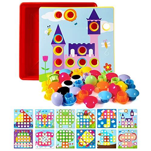 ZWOOS Mosaik Steckspiel Kinderspielzeug für Kinder ab 2 Jahre, Pädagogische Baustein mit 46 Steckperlen und 12 Bunten Steckplätte, Lernspielzeug Geschenke