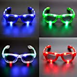 Atcket (Satz von 4) sortierte Farben LED-Gl?ser, LED-Schatten, LED-blinkende Sonnenbrille f¨¹r...