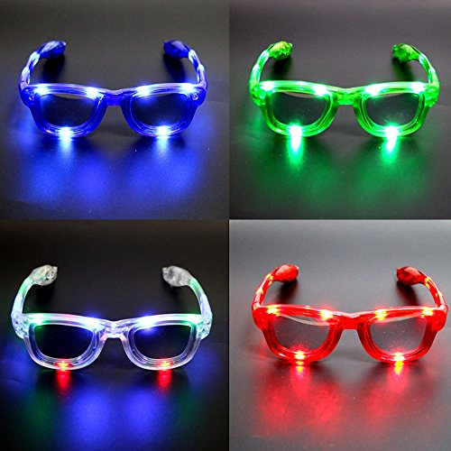 Atcket (Satz von 4 sortierte Farben LED-Gl?Ser, LED-Schatten, LED-blinkende Sonnenbrille f¨¹r Rave-Party