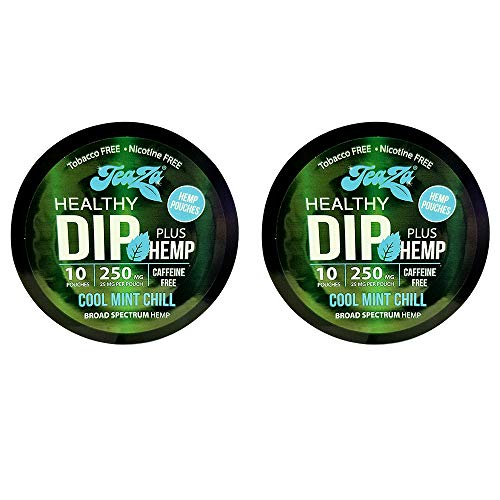 TeaZa Energy Smokeless Alternative with Hemp | Quit Chewing and Dipping Snuff | Nicotine and Caffeine Free Herbal Energy Pouch | Cool Mint Chill | 2 Pack