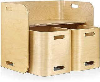 Keezi 3 PC Nordic Kids Table Chair Set Beige Desk Activity Compact Children