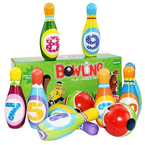 Schimer Kinder Bowling Set Kegelspiel Spiele Boule-Spiele Bowlingkugel Kegel für draußen Spielzeug Kinder ab 3 4 5 Jahren (2 Bälle und 10 Kegel), Pädagogische Spielzeug