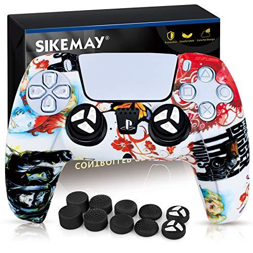 SIKEMAY Silikon-Schutzhülle für PS5 Dualsense Controller Grip x1, Schutzhülle für Playstation 5 Zubehör mit 8 Daumengriffkappen (buntes Punk)