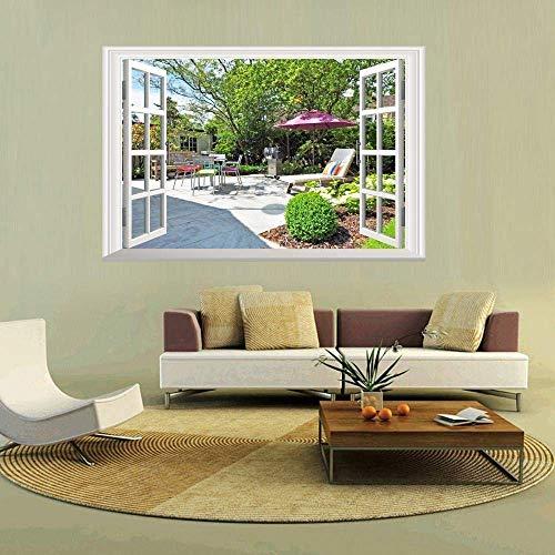 3D Rode Paraplu in Park Muren Mount Lake Muursticker Raam Stickers Wallpaper Sticker Home Decoratie 60X90Cm