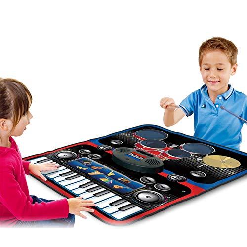 QINAIDI Zwei in einem Klavier und Schlagzeug Keyboard Kit, Early Education Puzzle Music Game Mat, für Kinder