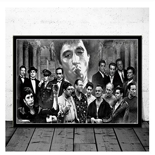 Padrino Gangsters Goodfellas Sopranos Movie Art Poster Pintura de la lona Imagen de la pared Decoración para el hogar Carteles e impresiones-60x80cm Sin marco