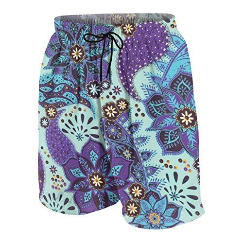 Yesliy Boho Mandala bañador para hombre, pantalones cortos de verano, surf, playa, de secado rápido, con bolsillos Multicolor Multicolor XL