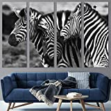 Color-Banner 4 Pieces Modern Canvas Wall Art Herd of Zebras for Living Room Home Decorations - 12'x32'x4 Panels