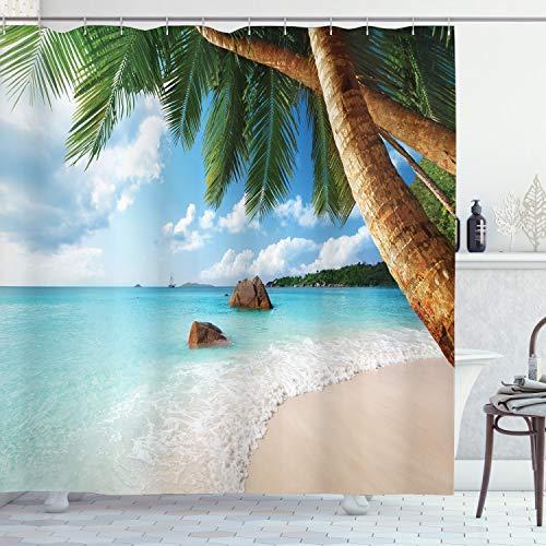 ABAKUHAUS Strand Duschvorhang, Exotische Palme Ozean, Trendiger Druck Stoff mit 12 Ringen Farbfest Bakterie & Wasser Abweichent, 175 x 200 cm, Multicolor