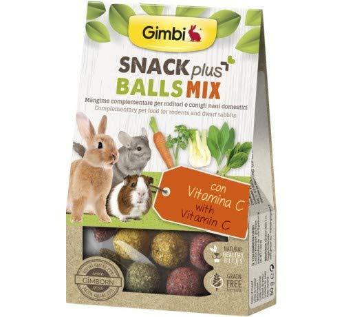 Gimbi Snack Plus Snack Grain Free Snack para conejos para roedores 50 g (Bal s Mix con vitamina C bolas)