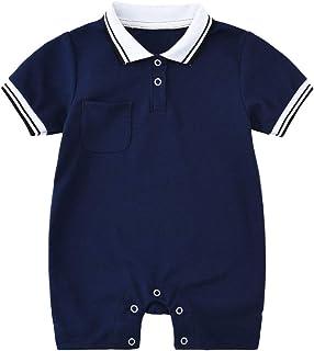 Bébé Combinaison en Coton Pyjama Garçons Filles Barboteuses Manche Courte Salopette Chemise Polo Tenues Grenouillères