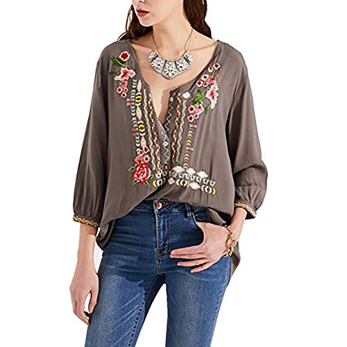 AK Women's Boho Embroidered Tops 3/4 Sleeve Mexican Peasant Shirts Bohemian Loose Tunic Blouses Grey