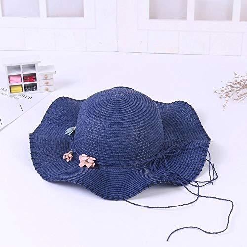 B/H Cappello Parasole di Paglia da Donna Elegante,Ombrellone Traspirante Pieghevole in Paglia Cappello da Spiaggia-Navy,Cappello di Paglia Adatto per L'Estate e la Spiaggia Protezione Solare