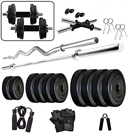 GoFiTPrO 30 KG (Vinyl Plate) Home Gym with 5 FT Plain Rod and 3 FT CURL Rod