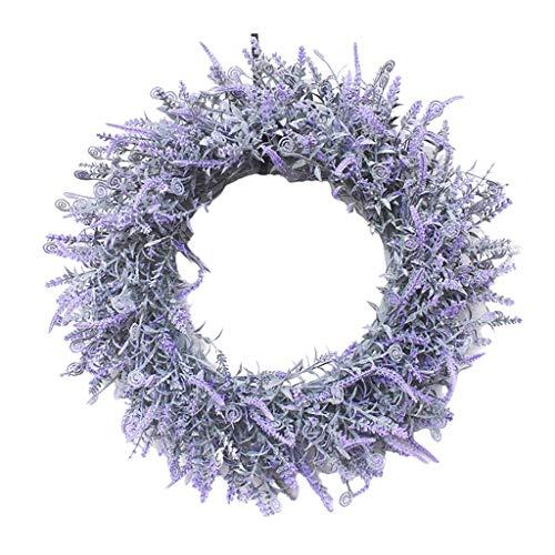MagiDeal Guirnalda Artificial 45cm Guirnalda Artificial para la celebración del Festival Puerta Frontal decoración de la Boda Ornamentos (Lavanda, 18 Pulgadas)