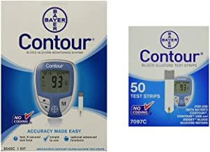 Bayer Ascensia Contour Blood Glucose Monitoring System with 50 Contour Blood Glucose Test Strips (Bundle)