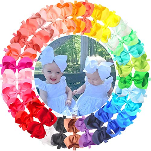 30 Pieces Colors Handmade 6 Inches Grosgrain Ribbon Big Hair Bows Headbands for Baby Girls Infant Toddlers and Kids