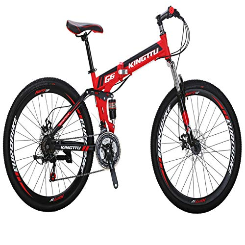 Eurobike Mountain Bicycle G6 21 Speed 26-Inch Spoke Wheels Bike Dual Suspension Folding Bicycle (Red)