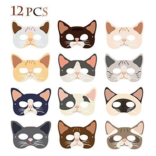 Maskers voor kattenparty, 12-delige set voor kinderkostuums, maskers voor kinderkostuums, kattenparty, Halloween-kostuums