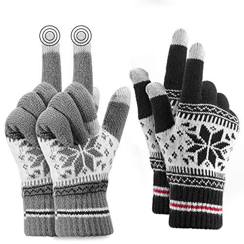 Buluri Touchscreen Handschuhe,Winterhandschuhe Damen Winter Handschuhe Warme rutschfest Strick Handschuh für Damen und Herren Skifahren Radfahren Wandern, 2 Paar