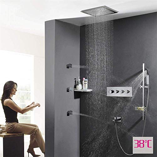 Busirsiz moderno Oscuro montado en la válvula de control del interruptor pared de la ducha Conjunto caliente y frío Embedded temperatura constante de 38 ° C Función cuatro Cuatro pieza superior aeroso