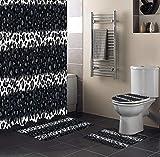 4-Teiliges Set Leopard Duschvorhang Set Leopard Print Schwarz Weiß Gestreifter Duschvorhang Toilettensitzbezug Set Mat Badezimmer Dekor Bad Gardinen-Only_Shower_Curtain