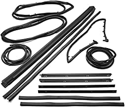APDTY 133998 Complete Rubber Weatherstrip Glass Dew Wipe Seal Kit Fits 1987-1995 Jeep Wrangler Includes Driver & Passenger Window Door Cowl Windshield Tailgate Upper Bar Inner & Outer Division Bar