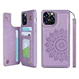 Cavor for iPhone 12 Pro Max Embossed Mandala Pattern Flower PU Leather Wallet Case with Card Holder Shockproof Cover - Purple