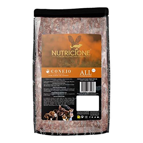 NUTRICIONE Barf Carne de Conejo 9Kg congelada (9 Paquetes de 1Kg)