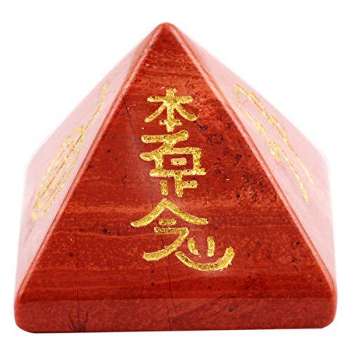 KYEYGWO Reiki Heilung Kristall Pyramide Edelstein mit Usui Reiki-Symbolen, Energie Heilstein Pyramiden Fengshui Figuren für Spirituelle Meditation und Home Decoration, Roter Jaspis