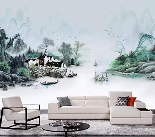 3D vliesbehang 3D fotobehang olieverfschilderij natuur inkt landschap foto achtergrond wand 3D behang vloerbedekking 300*210 300 x 210 cm.