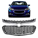 otoez 2Pcs Front Bumper Upper and Lower Grille Mesh Compatible with Chevy Malibu 2014 2015 2016 Lower Grill Cover Replacement Chrome Grille Overlay, Black