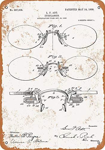 Letrero de metal con aspecto vintage de 1908, diseño de gafas