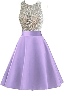 Meilishuo Beaded Sparkly Prom Ball Gown Short Mini Homecoming Dresses LF123