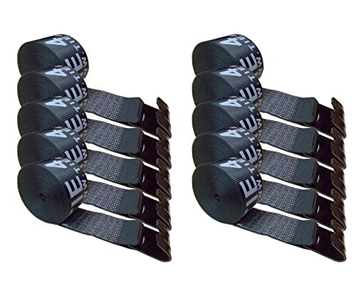 Mega Cargo Control 10 - Pack 4' x 30' Winch Strap with Flat Hook Flatbed, Truck, Farm, Construction Heavy Duty (Black)
