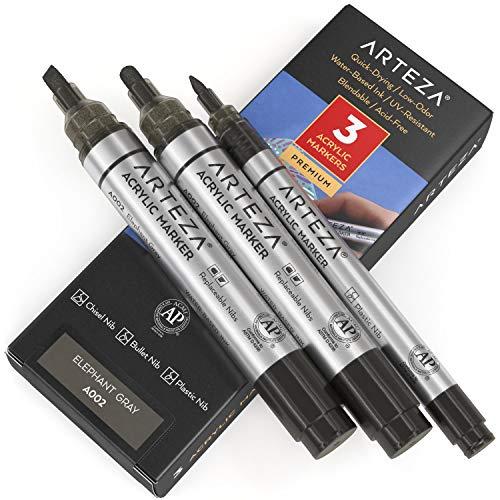 Arteza Acrylstifte 3er-Set, A002 Elefantengrau, 2 Acrylmarker mit Rund- und Keilspitze, 1 feiner Acrylmalstift, wasserfeste Stifte zum Steine Bemalen, für Leinwand, Glas, Holz, Metall, Stoff, Keramik
