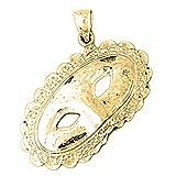 Jewels Obsession - Colgante de oro amarillo de 14 quilates con diseño de máscaras de encaje, 33 mm