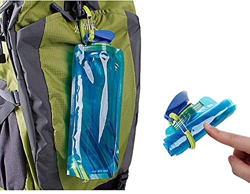 \t 2 Piezas Botellas De Agua, 700ML PláStico Bolsa De Agua para Apretar El Matraz Suave De PE Al Aire Libre Plegable, DiseñO A Prueba De Fugas para Adolescentes, Adultos