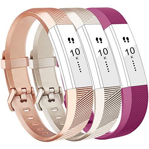 Vancle Fitbit Alta HR Armband, Fitbit Alta Armband Weiches Sports Ersetzerband Silikagel Fitness Verstellbares Uhrenarmband für Fitbi Alta und Fitbit Alta HR (Champagne Rosegold Fuchsia, Small)