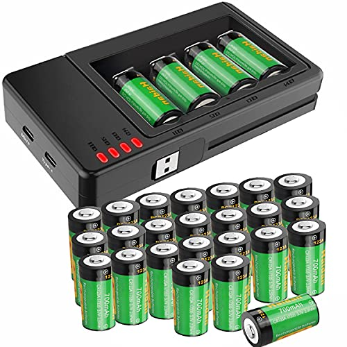 Rechargeable Arlo Batteries 123A and Charger [24-Pack 700mAH ICR17335 Batteries Replacement 3V CR123A Battery ] for Arlo Cameras, Alarm System, Flashlight