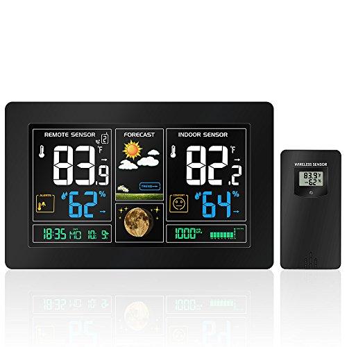 ProXenon Stazione Meteo Wireless per Temperatura Interna/Esterna, umidità, Orologio Atomico, Allarme con Porta di Ricarica USB