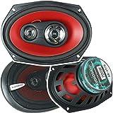 2 Audiobank 6x9 700 Watt 3-Way Red Car Audio Stereo Coaxial Speakers - AB6970