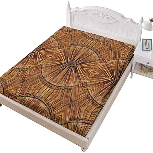 SoSung Twin Size Fitted Sheet 3D Printed with Tribal Abstract and,Abstract Geometric Frame Wild and Free Quote Boho Style,Bed Cover with All-Round Elastic Deep Pocket for Comfort